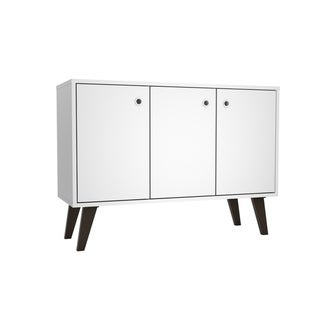 "Mid Century- Modern Bromma 35.43"" Sideboard 2.0 with 3 Shelves  in White"