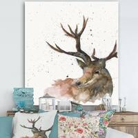 Designart 'Deer on White' Cottage Canvas Wall Art