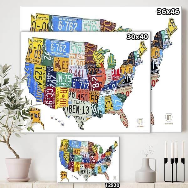 Shop Porch & Den \'License Plate Map USA\' Cottage Canvas Art ...