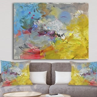 Designart 'Blue And Yellow Color Spatters I' Modern & Contemporary Canvas Artwork