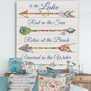 Designart 'Sentimental Arrows-Lake' Lake House Canvas Artwork