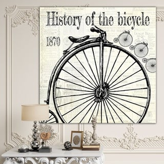 Designart 'History Of The Bicycle-D' Traditional Canvas Wall Art