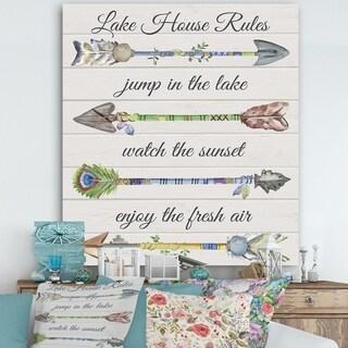 Designart 'Sentimental Arrows-Lake House Rules' Lake House Gallery-wrapped Canvas