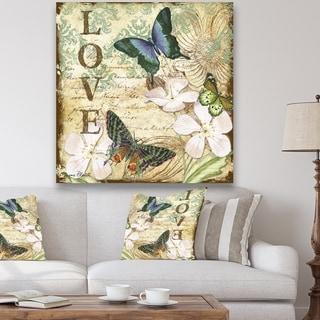 Designart 'Inspirational Butterflies Love' Cottage Premium Canvas Wall Art