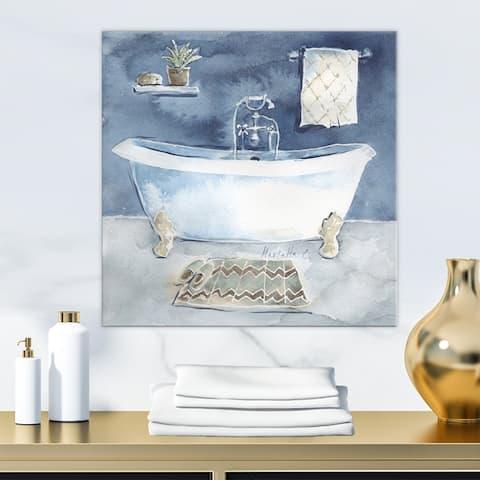 Porch & Den 'Watercolor Bathroom I' Vintage Gallery-wrapped Canvas