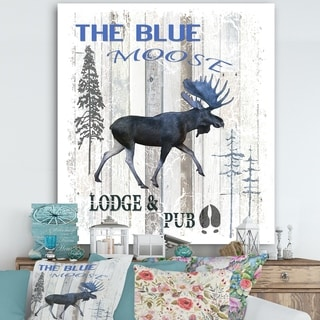 Designart 'The Blue Moose' Cottage Gallery-wrapped Canvas