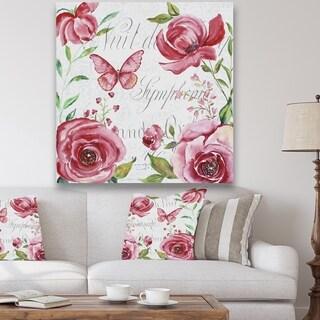 Designart 'Pink Symphony In The Garden 1' Cottage Premium Canvas Wall Art