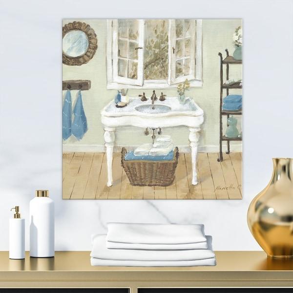 Shop Designart 'French Country Bathroom I' Vintage Canvas