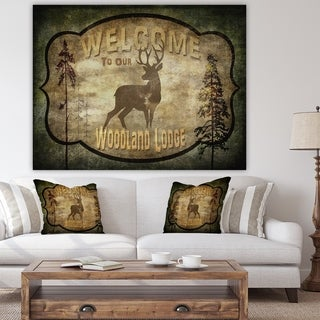 Designart 'Welcome_Lodge Deer' Cottage Gallery-wrapped Canvas