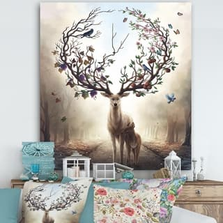 Designart 'Deer With Blossoming Antlers' Cottage Canvas Wall Art