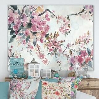 Designart 'Cherry Blossoms Morning' Cottage Premium Canvas Wall Art