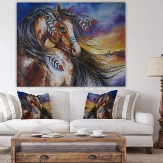 Designart '5 Feathers Indian War Horse' Cottage Canvas Wall Art