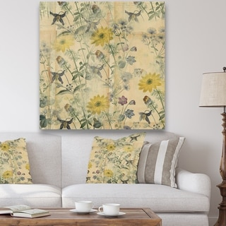 Designart 'Floral Collage Layered Papers' Cottage Canvas Artwork