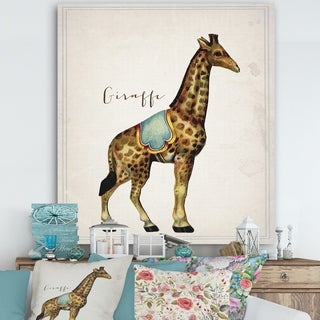 Designart 'Circus Animals Giraffe' Cottage Gallery-wrapped Canvas