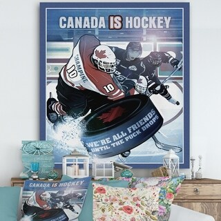 Designart 'Canada is Hockey' Traditional Premium Canvas Wall Art