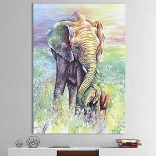 The Curated Nomad 'Mother and Baby Elephant Rainbow Colors' Cottage Canvas Wall Art