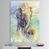 Designart 'Mother & Baby Elephant Rainbow Colors' Cottage Canvas Wall Art