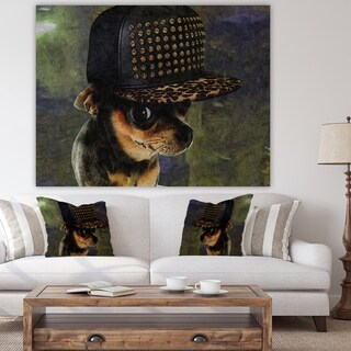 Designart 'Chihuahua With Hat' Cottage Canvas Artwork