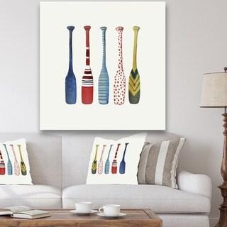 Designart 'Five Paddles' Lake House Canvas Wall Art