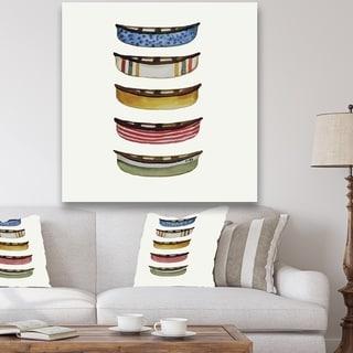Designart 'Five Canoes' Lake House Premium Canvas Wall Art