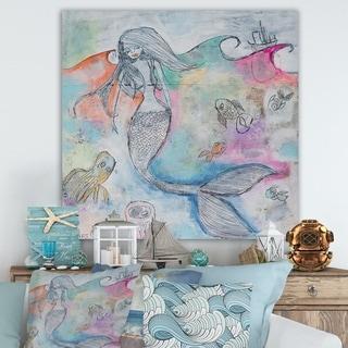 Designart 'Mermaid Aura' Nautical & Coastal Gallery-wrapped Canvas