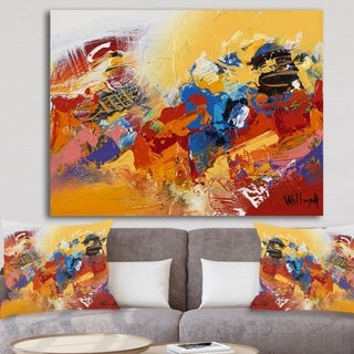 Designart 'Abstract Red and Yellow 03' Modern & Contemporary Premium Canvas Wall Art