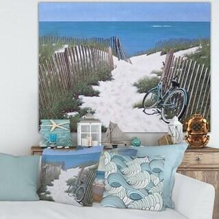Designart 'Beach Bike' Nautical & Coastal Canvas Wall Art