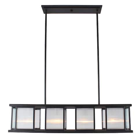 Eglo Henessy 4-Light Linear Pendant W/ Black and Brushed Nickel Finish