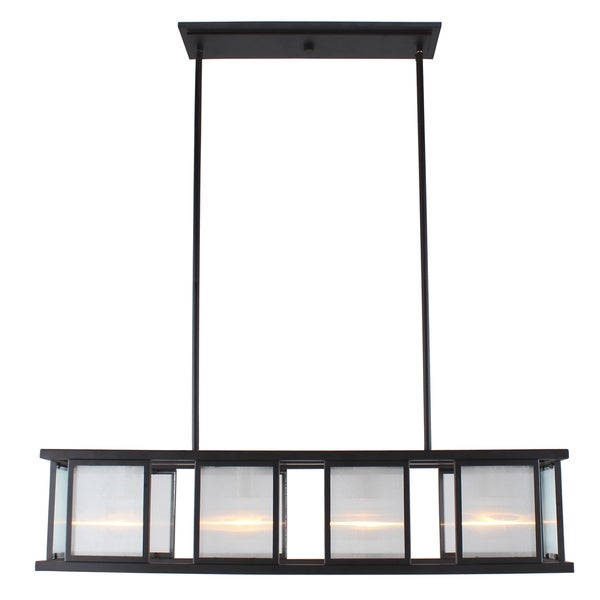 Eglo Henessy 4-Light Linear Pendant W/ Black and Brushed Nickel Finish. Opens flyout.