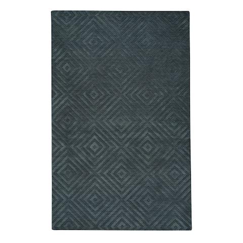 Capel Rugs Atrium Spirit Dark Grey New Zealand Wool Handmade Rectangle Area Rug - 8' x 10'