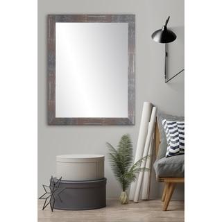 Urban Industrial Loft Accent Mirror - Dark Gray/Red/Silver