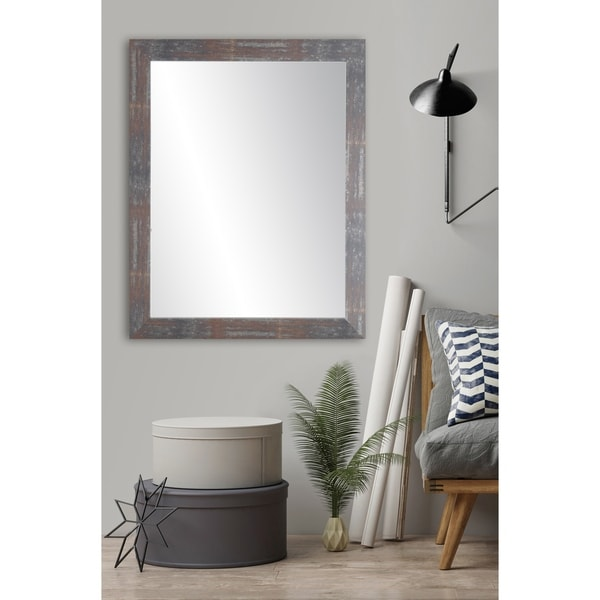 Urban Industrial Loft Accent Mirror - Dark Gray/Red/Silver