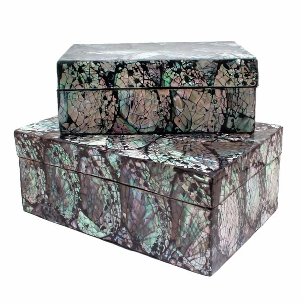 Handmade Shimmering Shells Box, Set of 2 (Indonesia)