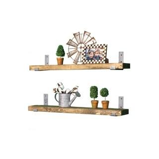 Stained Bracket Shelf Set