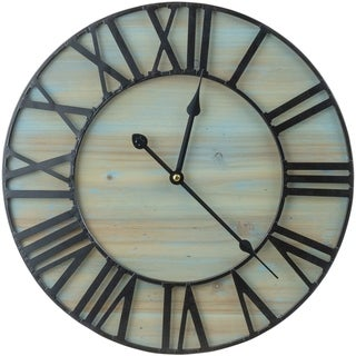 "Metal & Solid Wood Wall Clock (15.75"" in Diameter) - 15.75"