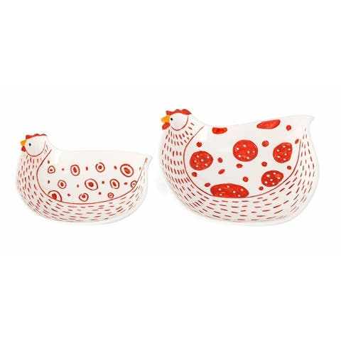 Farmstead Handpainted Red Chicken Plates - Set of 2