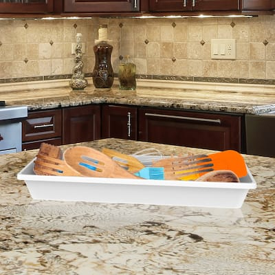 Storage Bin- Plastic Drawer Organizer Tray with Non-Slip Liner for Kitchen, Office or Vanity by Lavish Home