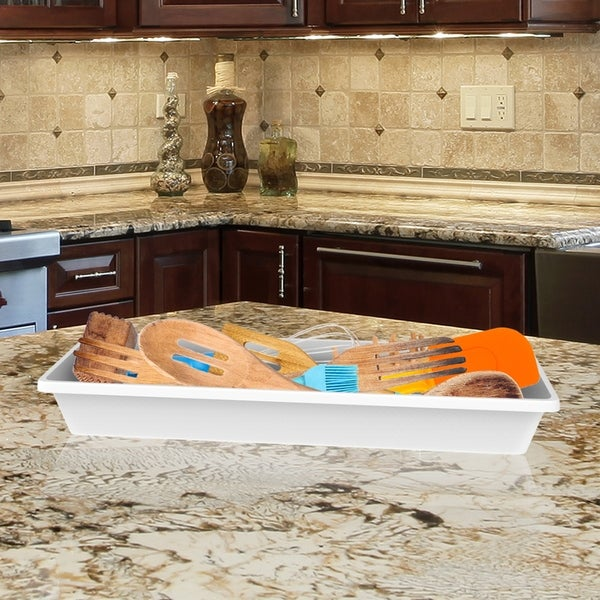 Storage Bin- Plastic Drawer Organizer Tray with Non-Slip Liner for Kitchen, Office or Vanity by Lavish Home. Opens flyout.