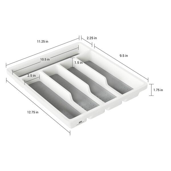 Lavish Home White Plastic 5-compartment Silverware Organizer