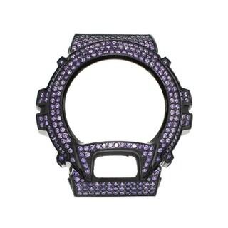 Casio G-Shock DW-6900 Black Stainless Steel Case High Polish w/ Lab Created Purple CZ Stone - Purple CZ Stone