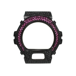 Casio G-Shock DW-6900 Black Stainless Steel Case High Polish w/ Lab Created Fuschia CZ Stone - Fuschia CZ Stone