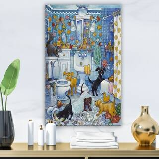 Porch & Den 'More Bathroom Pups' Vintage Premium Canvas Wall Art