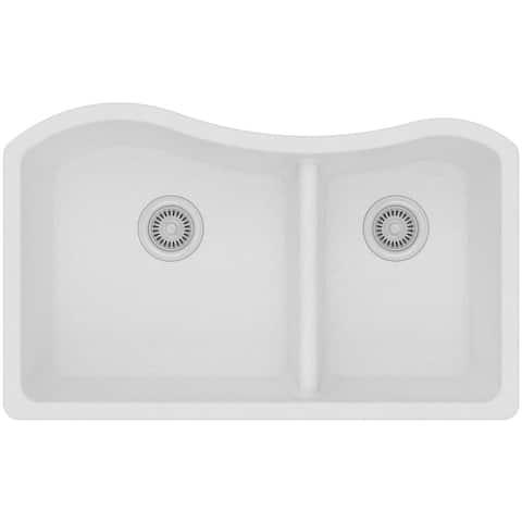 Elkay Quartz Classic White 60/40 Double Bowl Undermount Sink