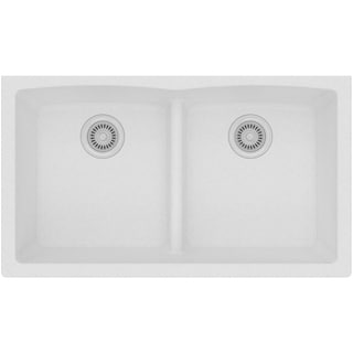 Elkay Quartz Classic (ELGDULB3322WH0) White 33x19x10-inch Equal Double Bowl Undermount Sink with Aqua Divide