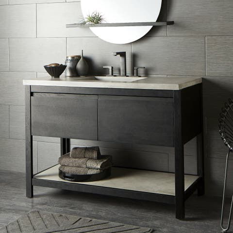 """48"""" Solace Vanity Base in Midnight Oak with Palomar Vanity Top and Sink"""