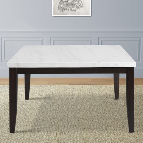 Fairfax 54 inch Square White Marble Dining Table by Greyson Living /Cherry Brown