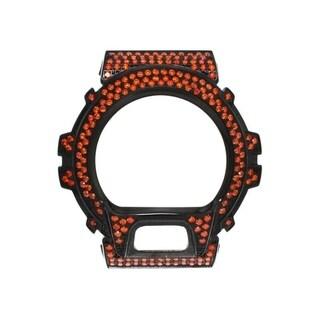 Casio G-Shock DW-6900 Black Stainless Steel Case High Polish w/ Lab Created Orange CZ Stone - Orange CZ Stone