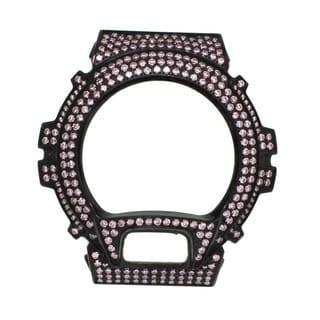 Casio G-Shock DW-6900 Black Stainless Steel Case High Polish w/ Lab Created Pink CZ Stone - Pink CZ Stone