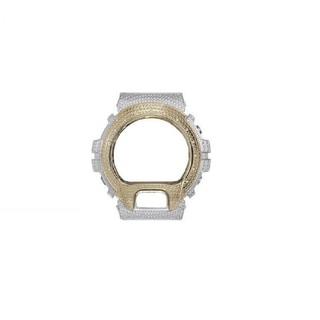 Casio G-Shock DW-6900 Y&W Stainless Steel Bezel Cover 14 Genuine White Diamond - Genuine White Diamond/Yellow