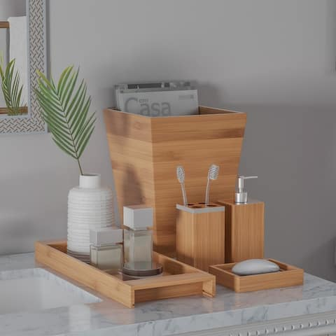 Bamboo Bath Accessories- 5 Pc. Set Natural Wood Tray, Lotion Dispenser, Soap Dish, Toothbrush Holder, Wastebasket by Lavish Home